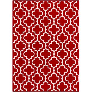 Best Reviews Shonnard Trellis Bright Red/White Area Rug ByHouse of Hampton