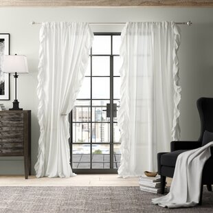 35cdc1678842c Dungannon Belgian Flax Linen Ruffle Border Solid Semi-Sheer Rod Pocket  Single Curtain Panel