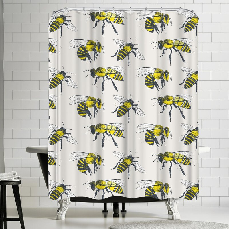 East Urban Home Bees Shower Curtain
