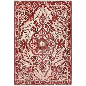 Sela Vintage Persian Hand Woven Wool Red/Cream Floral Area Rug
