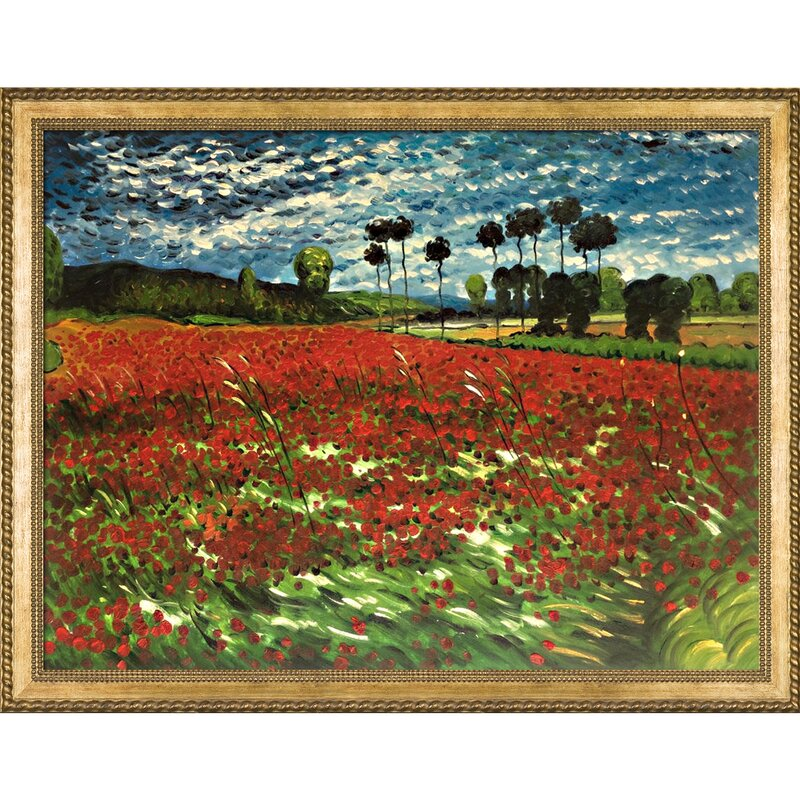 Darby home co field of poppies by vincent van gogh framed oil field of poppies by vincent van gogh framed oil painting print on canvas mightylinksfo