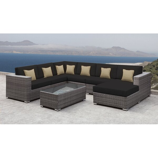 Good SolisPatio Lusso Patio Rattan 7 Piece Sectional Seating Group With Cushions  And Square Toss Pillows | Wayfair