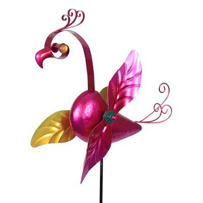 Metal Flamingo Whirligig Garden Stake