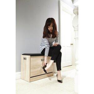 Kunstleder-Sitzbank Danby aus Holz mit Stauraum von ClassicLiving