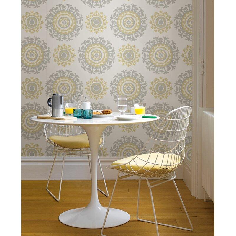 "Grey and Yellow 18' x 20.5"" Suzani Peel And Stick Wallpaper Roll & Reviews | Wayfair"