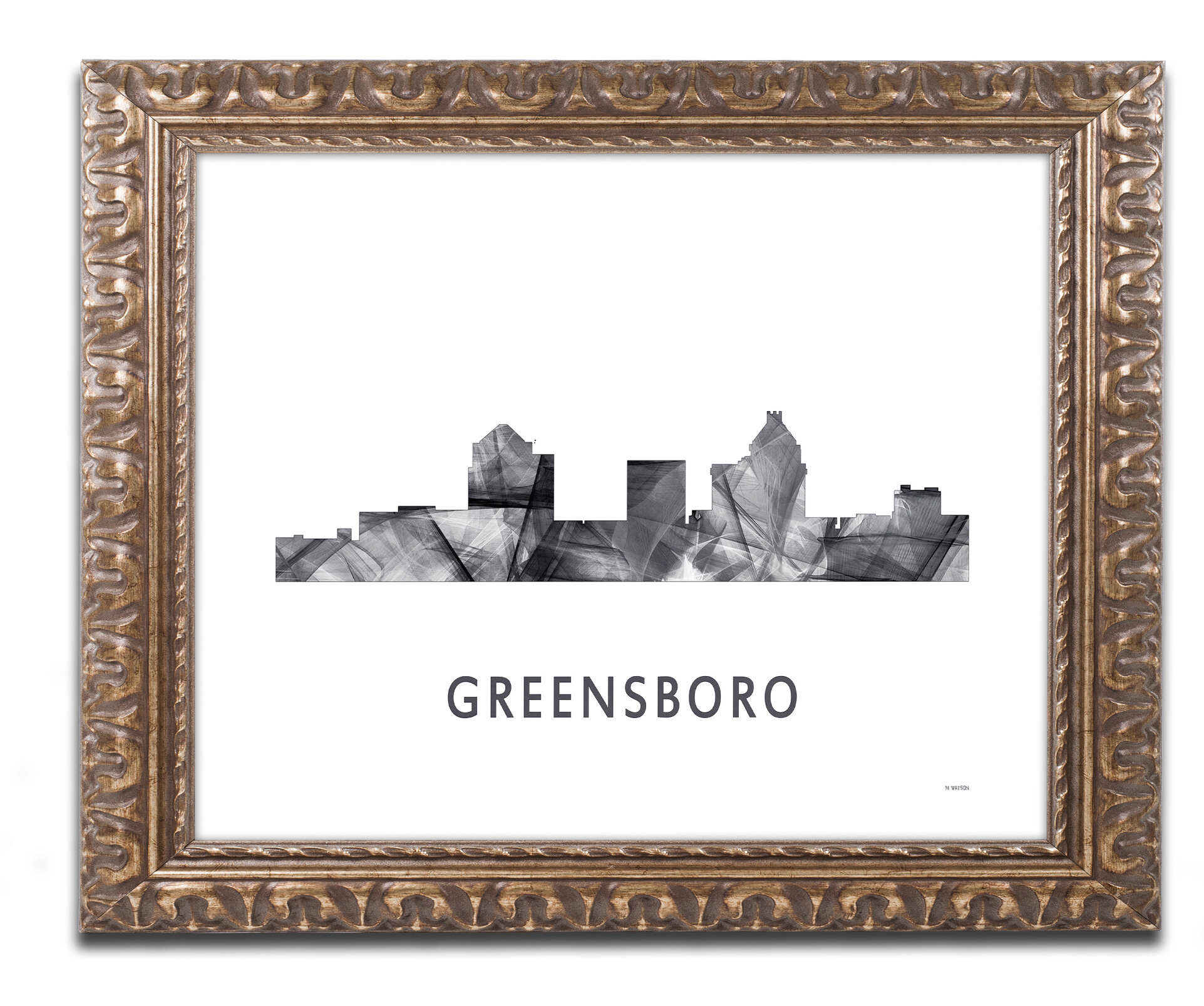 Trademark Art Greensboro Nc Skyline Wb Bw Framed Graphic