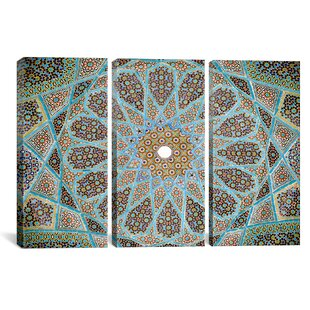 Islamic Tomb Of Hafez Mosaic 3 Piece Photographic Print On Wrapped Canvas