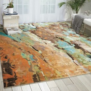 Donelle Hand-Tufted Brown/Green/Blue Area Rug