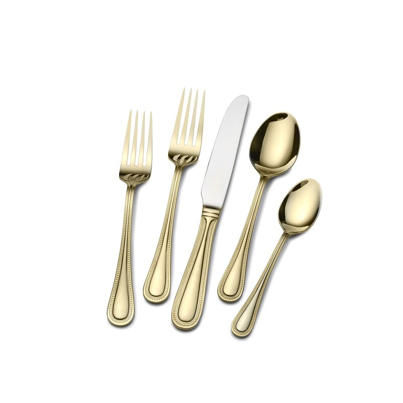 Gold Plated Euro Bead 45 Piece Flatware Set  sc 1 st  Wayfair & St. James Gold Plated Euro Bead 45 Piece Flatware Set u0026 Reviews ...