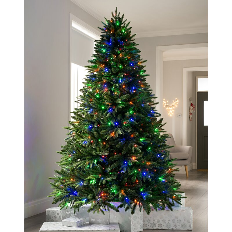 e223a29a62257 Alaskan 8ft Green Fir Artificial Christmas Tree with 600 Coloured and White  Lights