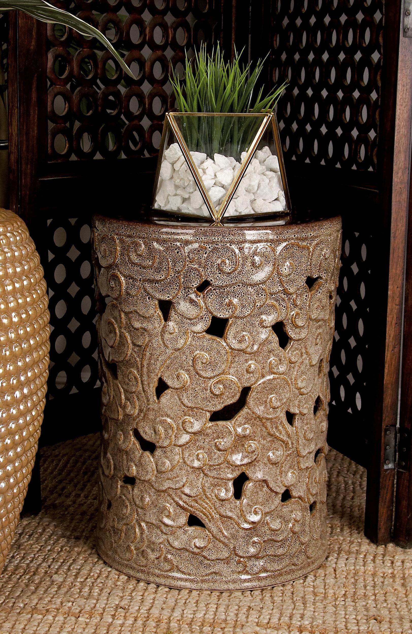 Cole & Grey Ceramic Scroll Garden Stool & Reviews | Wayfair
