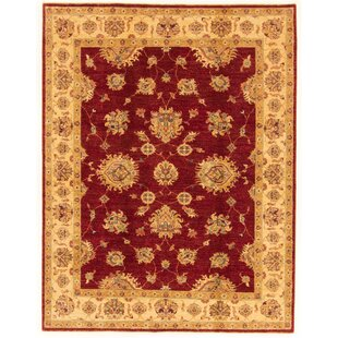 Gering Hand Knotted Wool Red/Beige Rug by Rosalind Wheeler