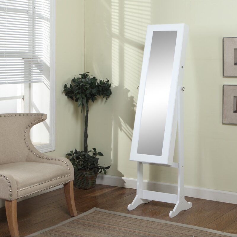 Ivy Bronx Bohr Floor Standing Jewelry Armoire with Mirror and LED ...