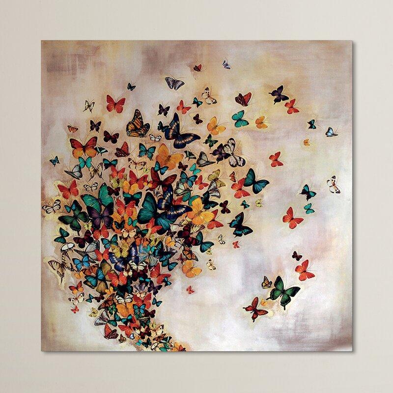 Andover Mills Butterflies On Pale Ochre Graphic Art