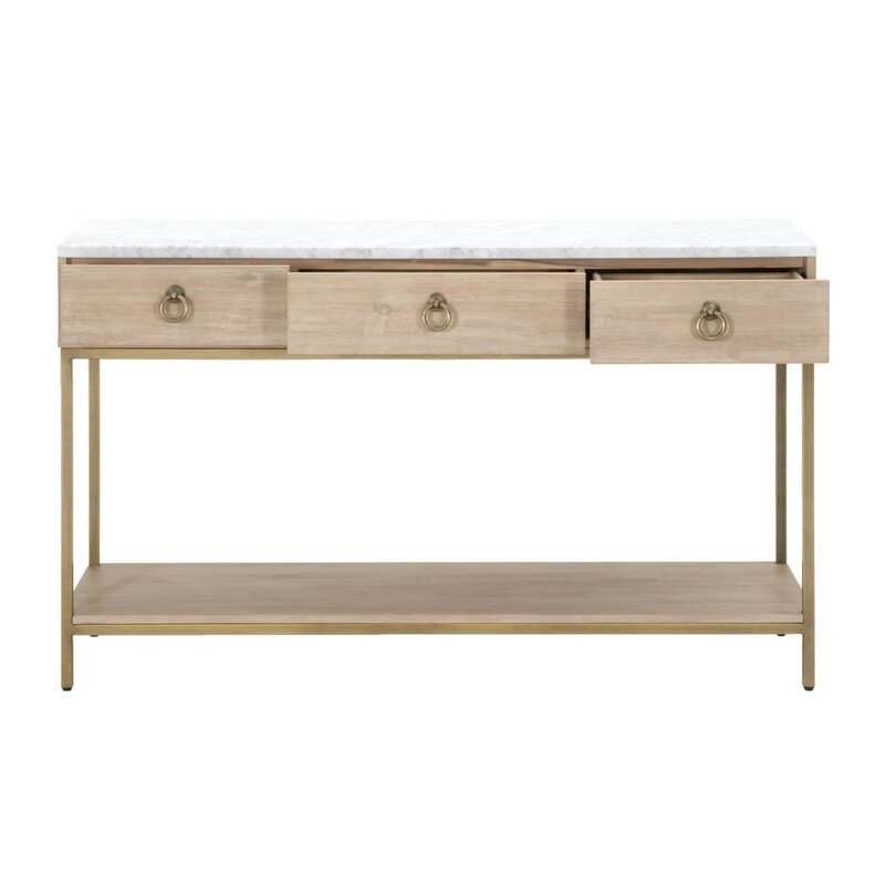 Bon Pottsville 3 Drawers And 1 Open Shelf Marble Top Entry Console Table
