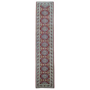 Evan Kazak Hand-Woven Wool Red/Beige Area Rug