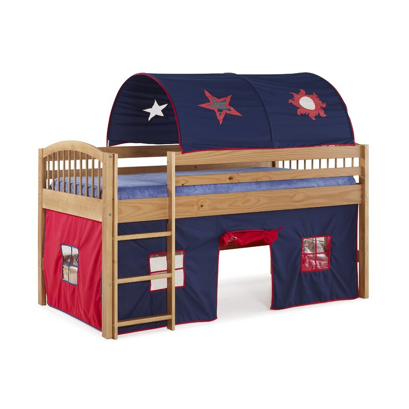 Zoomie Kids Abigail Twin Loft Bed With Tent & Reviews