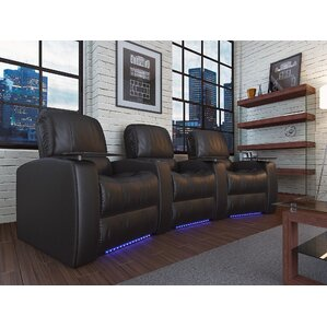 Leather Home Theater Recliner (Row of 3) by Latitude Run
