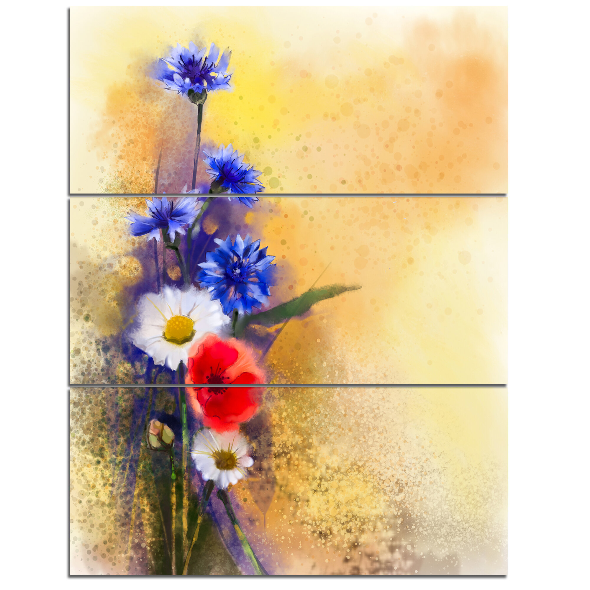 DesignArt \'Bouquet of Poppy Cornflower and Daisy\' 3 Piece Wall Art ...