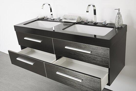 Caracella 140cm Wall Mounted Double Sink Vanity Unit Wayfaircouk