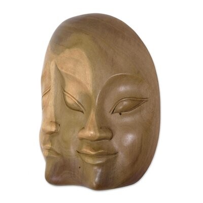 Novica Made Tresna Two Dimensions Indonesian Hibiscus Wood Mask Wall ...
