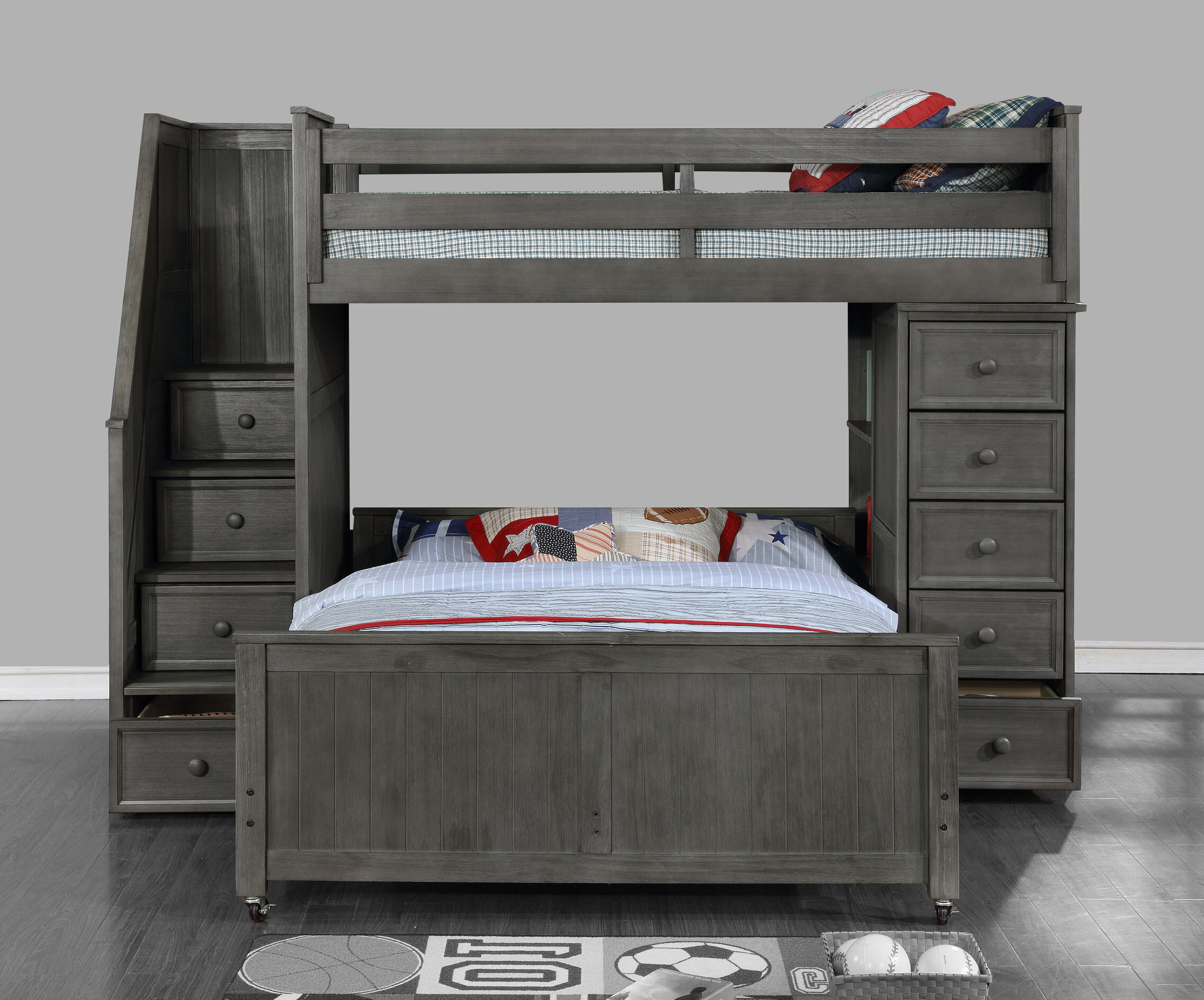 Forest Twin Over Full L Shaped Bunk Bed With Bookcase Birch Lane