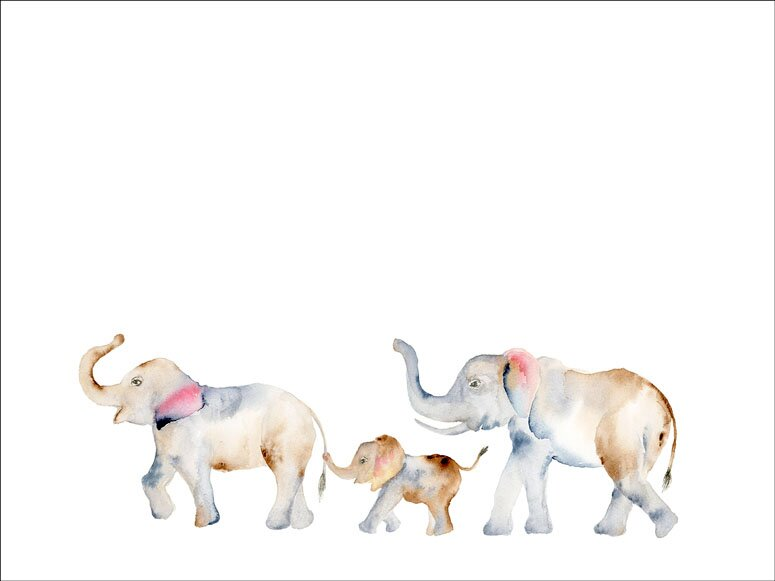 Laron Watercolor Elephants Walking Framed Canvas Art | Joss & Main
