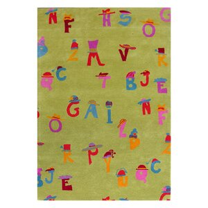 Fantasia Green Alphabet Area Rug