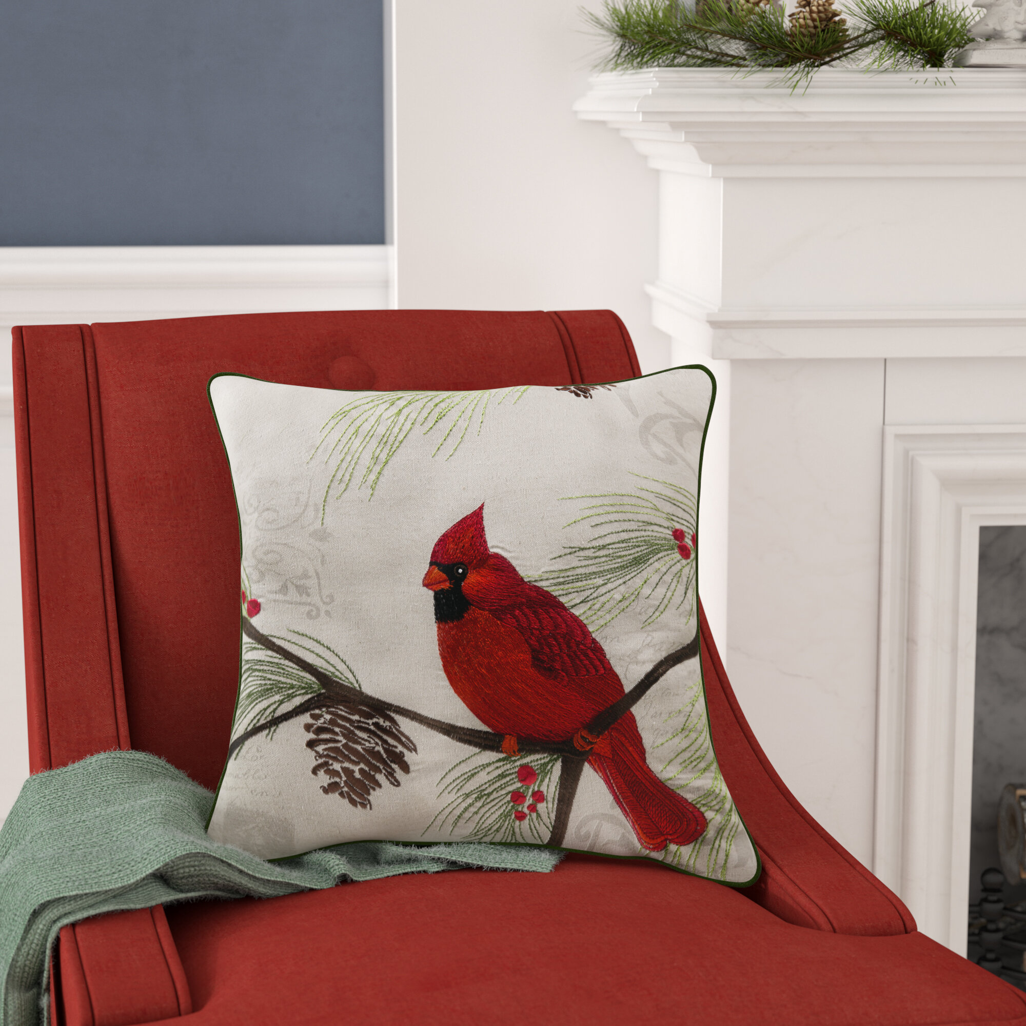 Alcott Hill Broadalbin Christmas Cardinal Throw Pillow U0026 Reviews | Wayfair