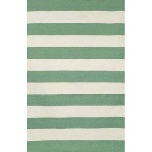 Ranier Stripe Hand-Woven Aqua/White Indoor/Outdoor Area Rug