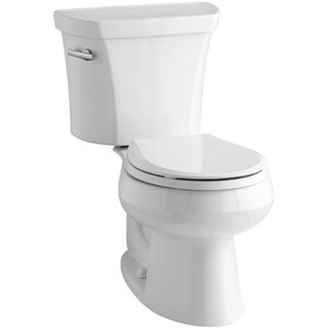 Wellworth Two-Piece Round-Front 1.28 GPF Toilet with Class Five Flush Technology and Left-Hand Trip Lever