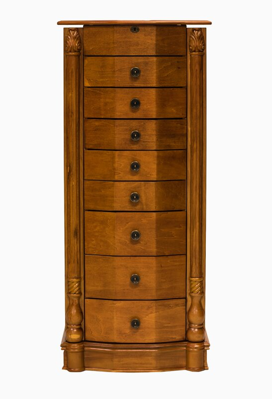 Attractive Florence 8 Drawer Wood Jewelry Armoire