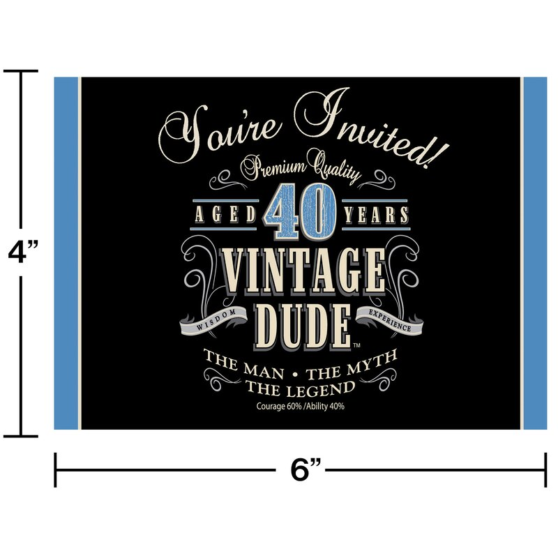 Vintage Dude 40th Birthday Invitations Paper Disposable Invitation