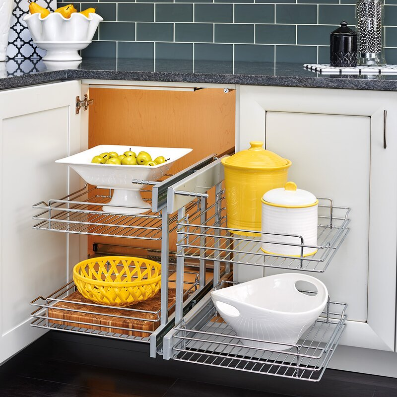 Blind Corner Cabinet Pull-Out Chrome 2-Tier Basket Organizer & Rev-A-Shelf Blind Corner Cabinet Pull-Out Chrome 2-Tier Basket ...