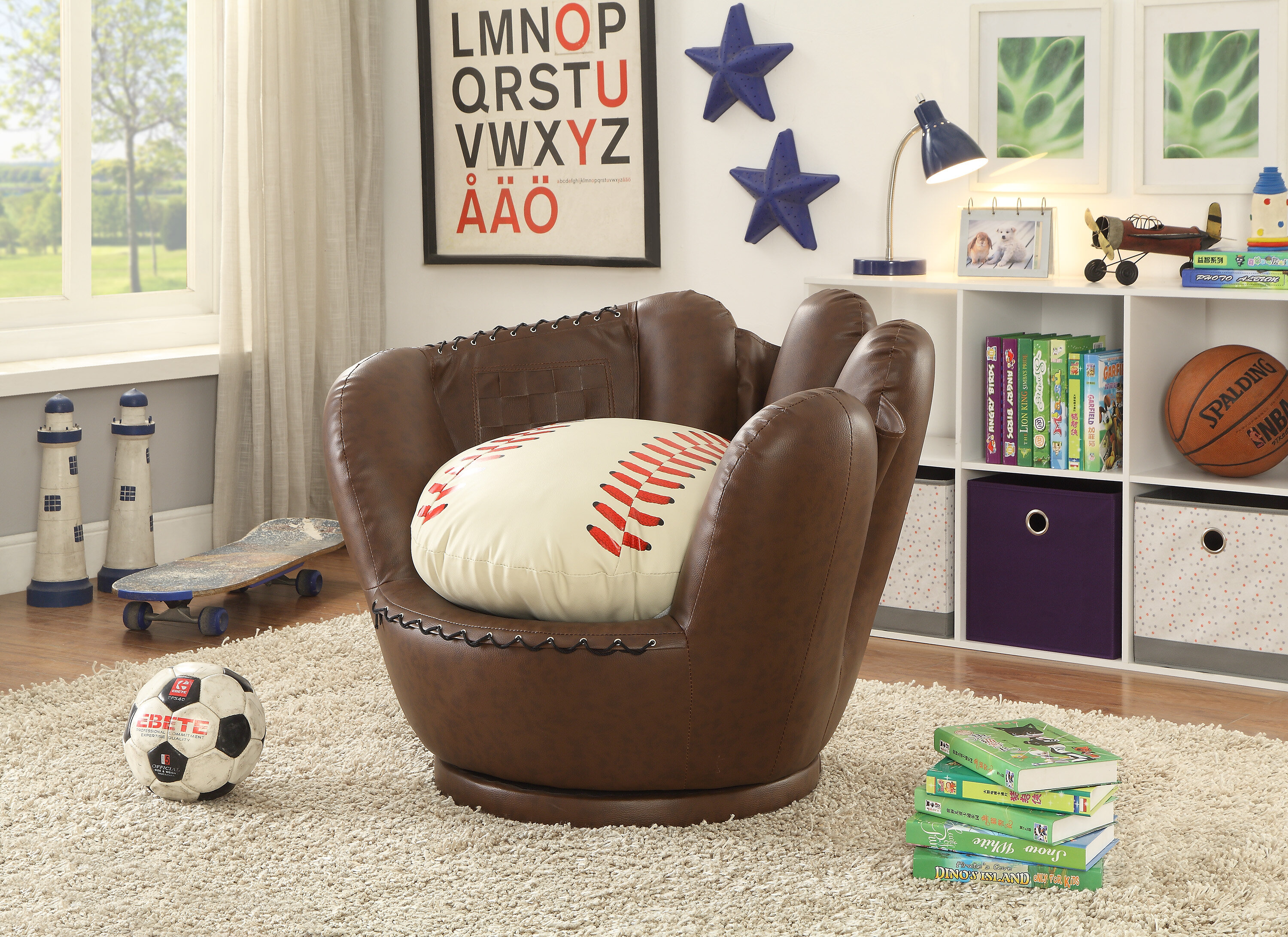 Crown Mark Baseball Glove Kids Faux Leather Chair | Wayfair