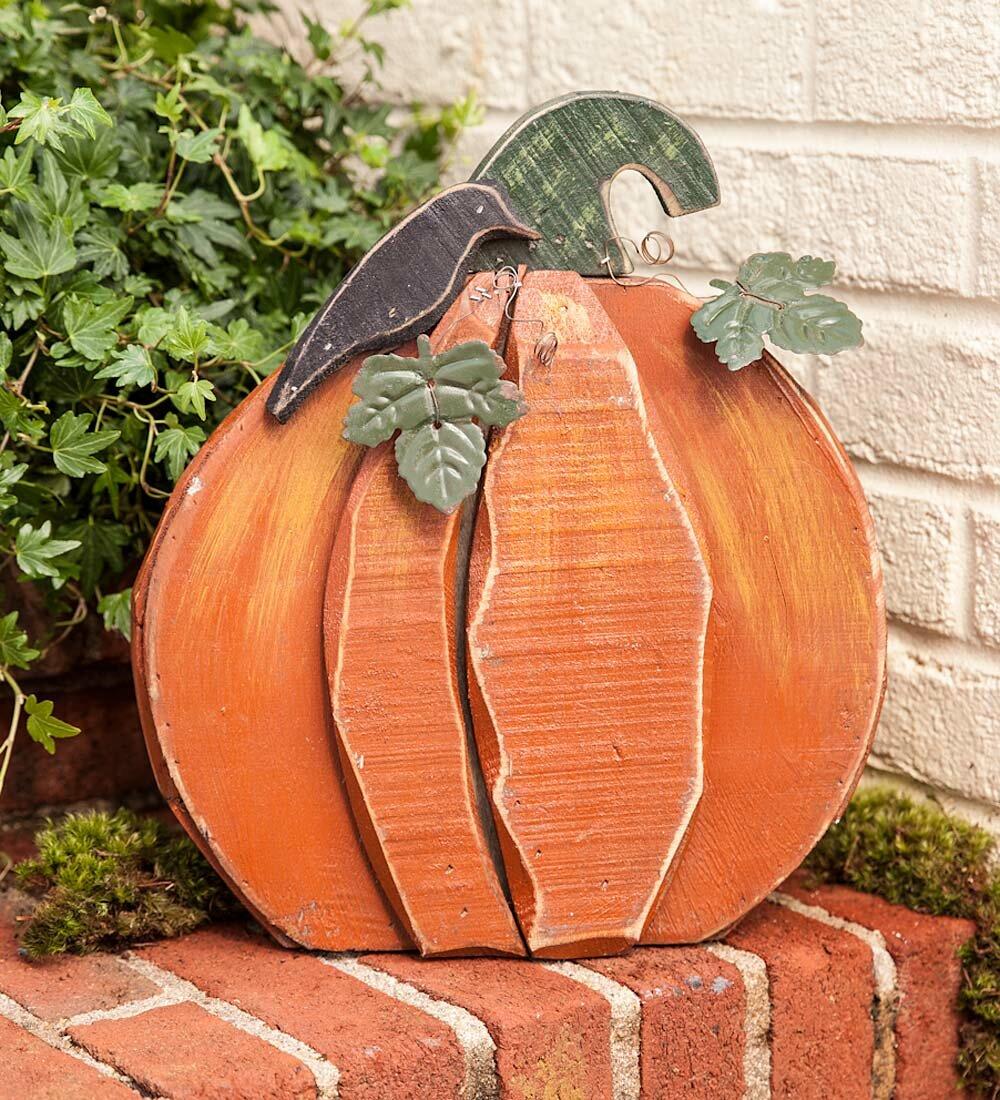 Wind U0026 Weather Wood And Metal Pumpkin Garden Stake | Wayfair
