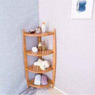 "Stonington Natural Bamboo Corner 43.2"" W x 20"" H Bathroom Shelf"