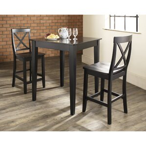 baggley 3 piece pub table set with tapered leg table and xback barstools