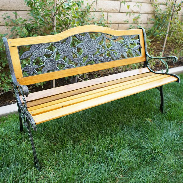 Elegant Belleze Outdoor Patio Cast Iron Hardwood Garden Bench U0026 Reviews | Wayfair