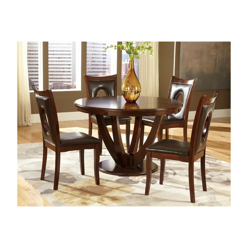 Lakshmi Transitional Style Wooden Round Pedestal Dining Table