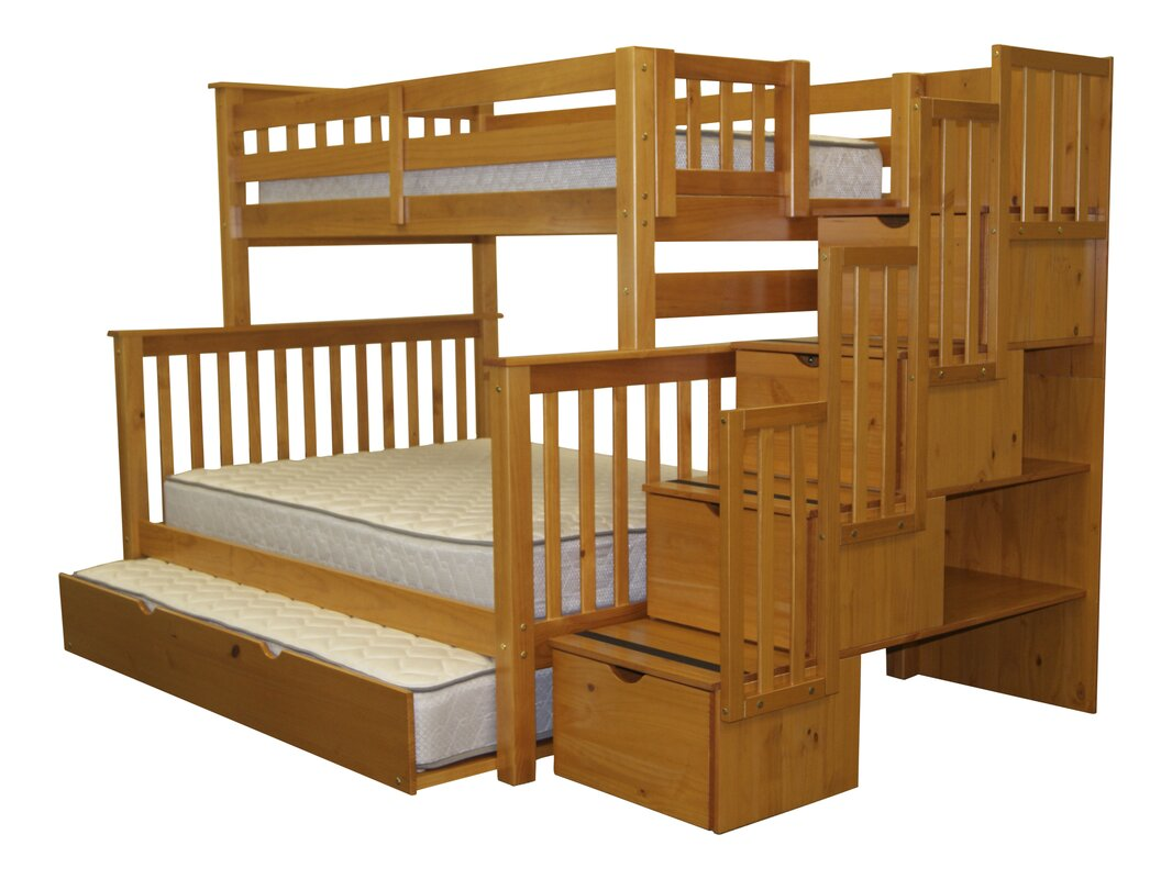 bedz king stairway twin over full bunk bed with trundle reviews. Black Bedroom Furniture Sets. Home Design Ideas