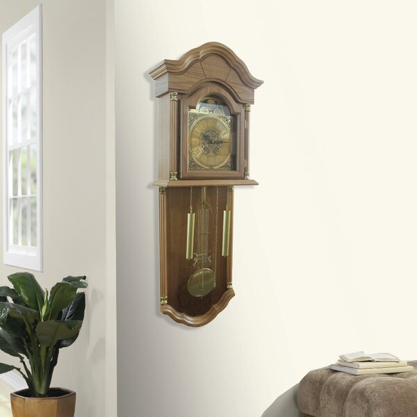 Wall Hanging Grandfather Clock jenlea full grandfather wall hanging clock & reviews | wayfair