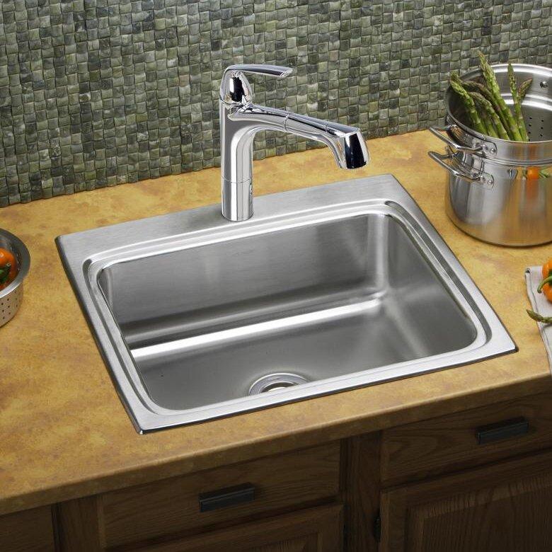"Lustertone 25"" x 22"" Drop-In Kitchen Sink"