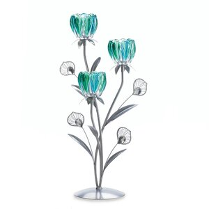 Triple Peacock Bloom Iron, Glass and Plastic Candelabra