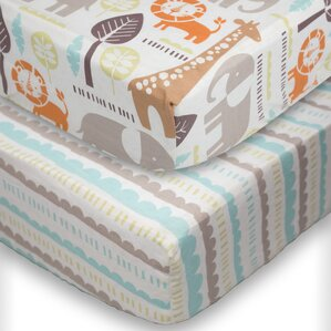safari fitted crib sheet set of 2 - Crib Sheets