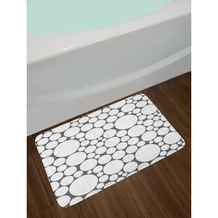 Geometric Retro Pattern With Large Small Round Dots Bath Rug