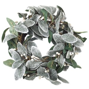 Decorative Artificial Frosted Leaf Branch Wreath