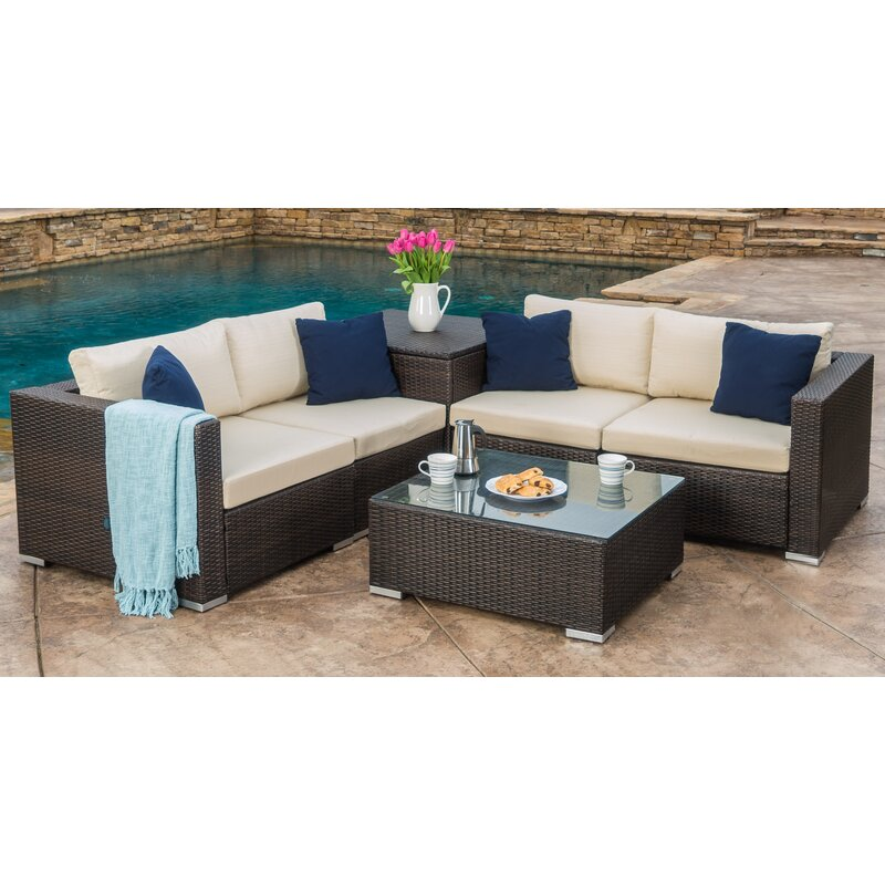 Coast 6 Piece Rattan Sectional Seating Group With Cushions Amp Reviews Joss Amp Main
