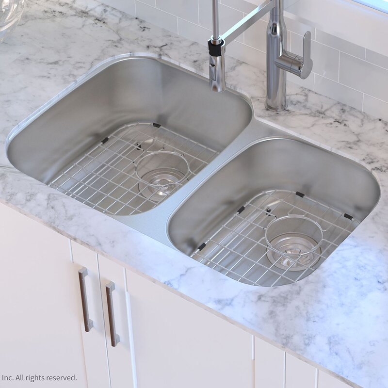 "Kitchen Sink Drain Assembly: Kraus 32"" X 21"" Double Basin Undermount Kitchen Sink With"
