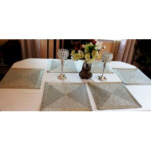 Artisan Glass Beads Braided Square Placemat (Set of 6)